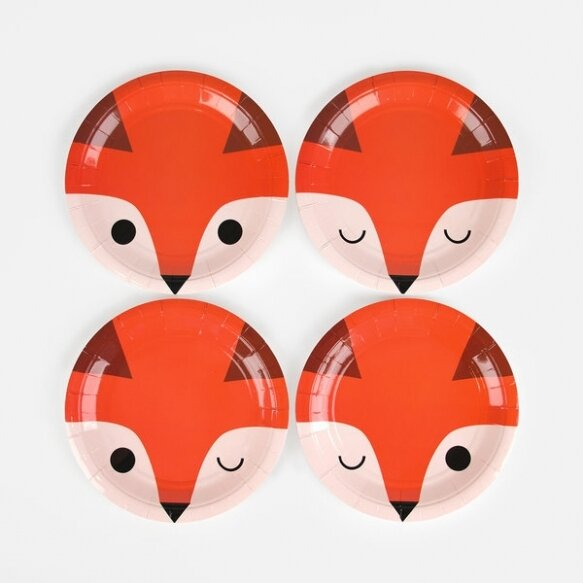 8 SMALL PAPER PLATES - MINI FOX