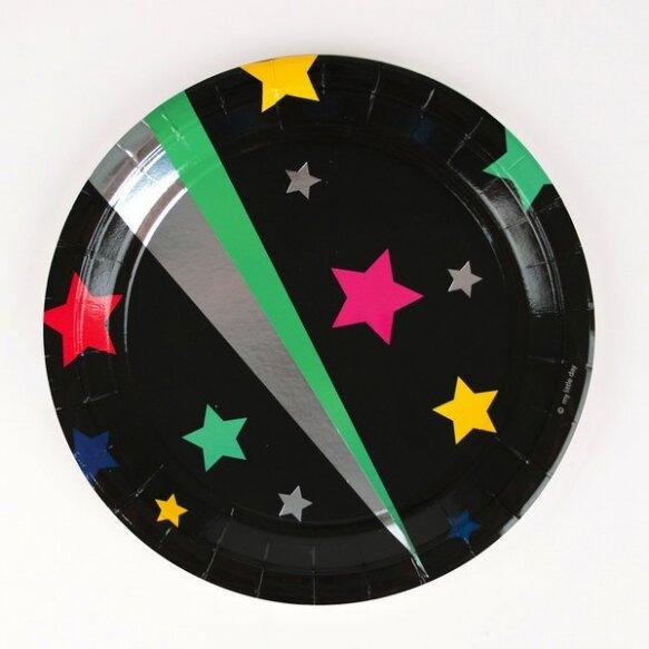 8 PAPER PLATES - DISCO STARS