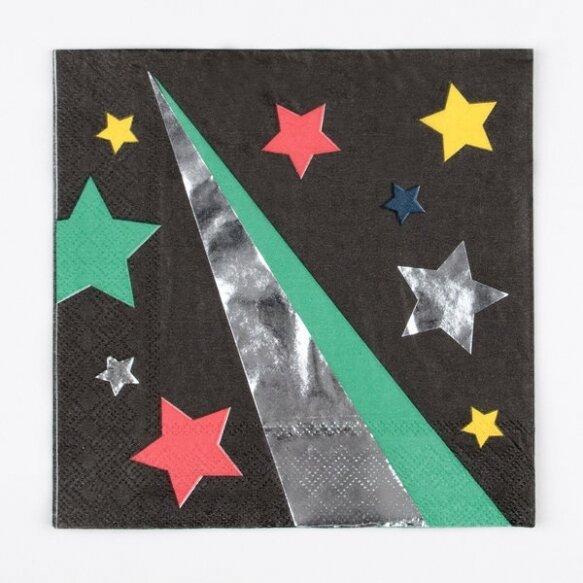 16 PAPER NAPKINS - DISCO STARS