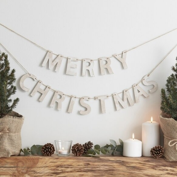 WOODEN MERRY CHRISTMAS BUNTING