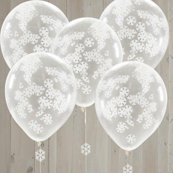 5 SNOWFLAKE SHAPED CONFETTI BALLOONS
