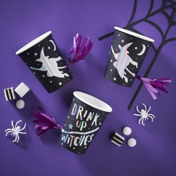 8 IRIDESCENT FOILED DRINK UP WITCHES TASSEL CUPS