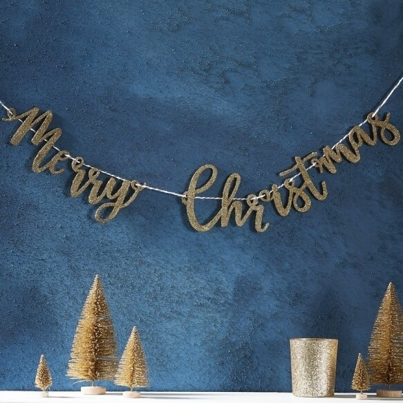 GOLD GLITTER MERRY CHRISTMAS WOODEN BUNTING