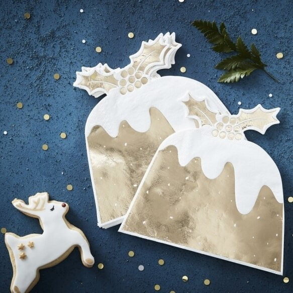12 GOLD FOILED CHRISTMAS PUDDING PAPER NAPKINS