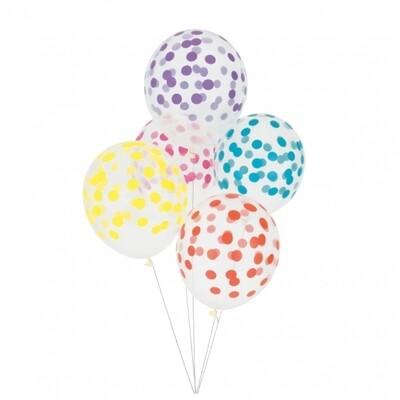 5 printed confetti balloons - multicolour