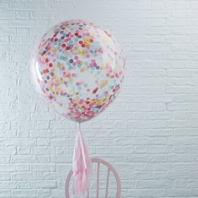 3 Large Multicolor Confetti Filled BALLOONS