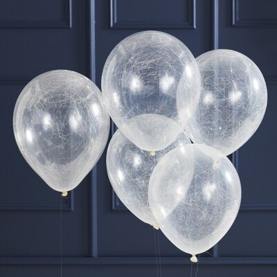 5 SILVER ANGEL HAIR CONFETTI BALLOONS