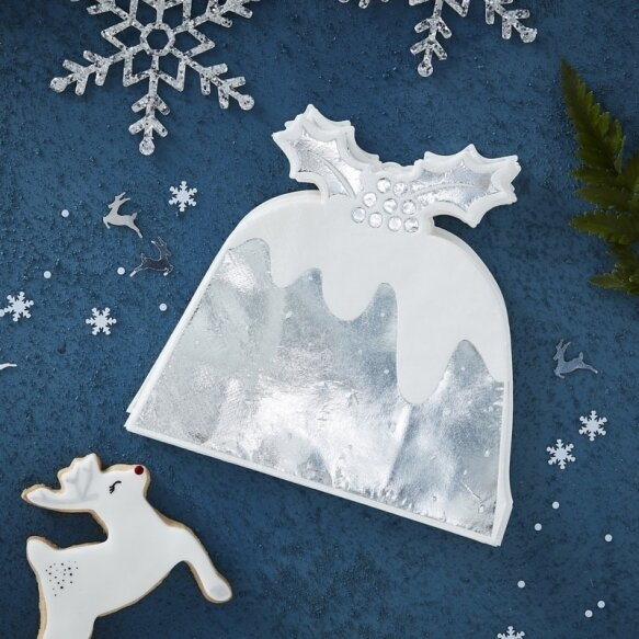 12 SILVER FOILED CHRISTMAS PUDDING PAPER NAPKINS
