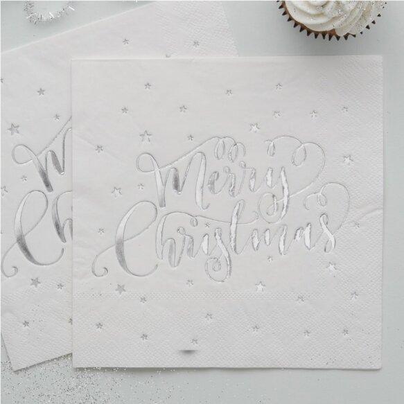 20 SILVER FOILED MERRY CHRISTMAS NAPKINS