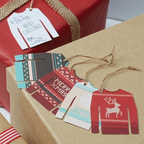 12 CHRISTMAS JUMPER TAGS