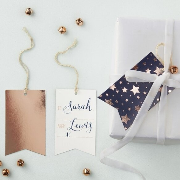 8 NAVY AND ROSE GOLD FOILED GIFT TAGS