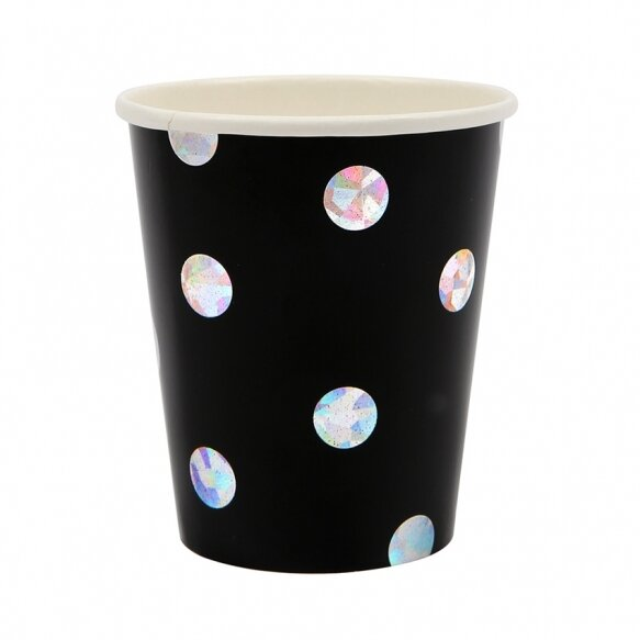 8 Black Holographic Cups