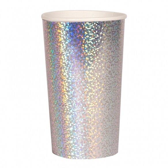 8 Silver Sparkle Highball Cups