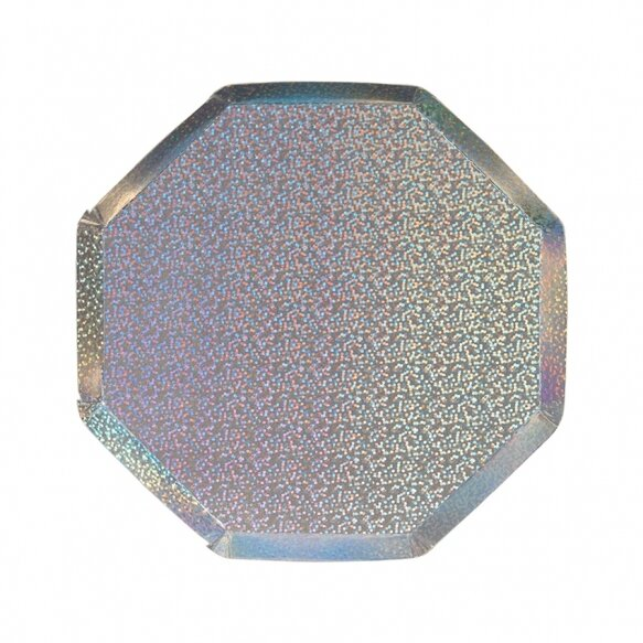 8 Silver Sparkle Side Plates