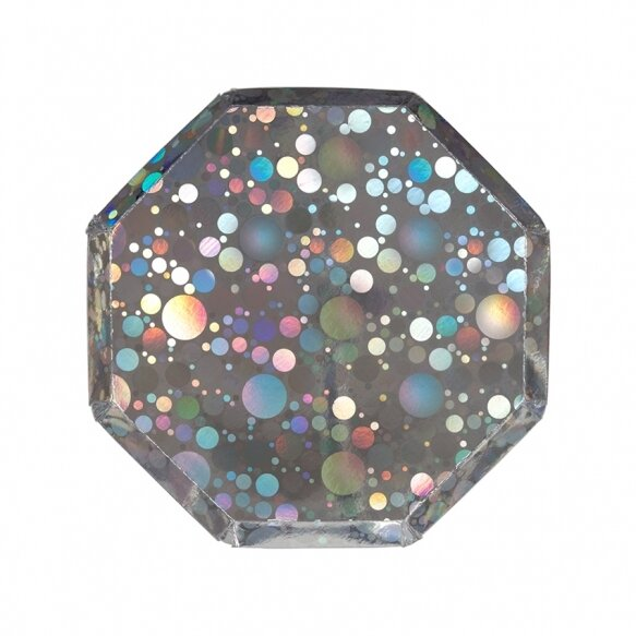 8 Holographic Silver Bubble Plates
