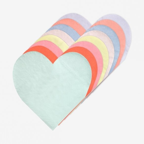 20 Rainbow Palette Heart Small Napkins