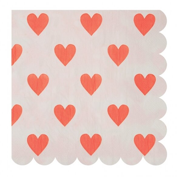 20 Coral Pink Heart Napkins