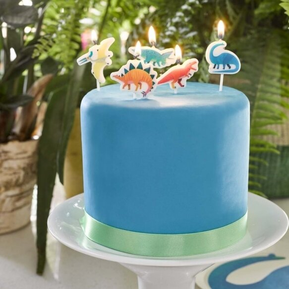 5 Party Dinosaur Candles
