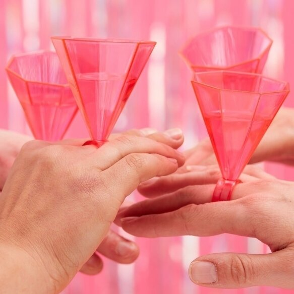 6 PINK RING PARTY SHOT GLASSES