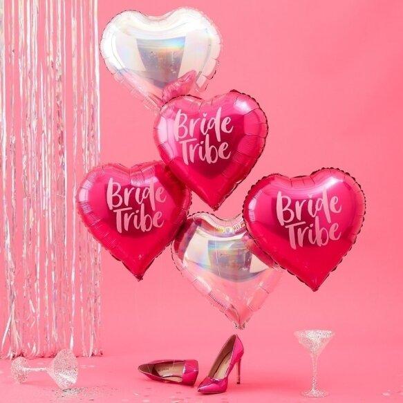 5 PINK & IRIDESCENT BRIDE TRIBE BALLOONS