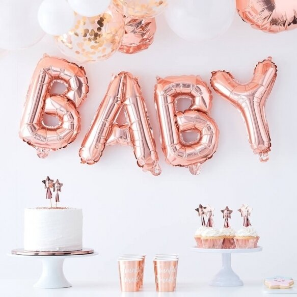 4 ROSE GOLD BABY BALLOON BUNTING DECORATION