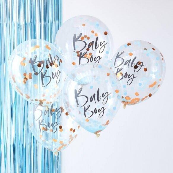 5 BLUE BABY BOY CONFETTI BALLOONS