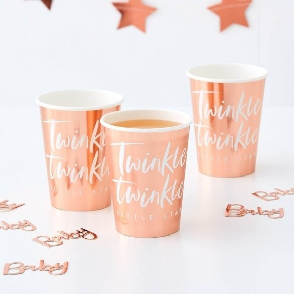 8 ROSE GOLD FOILED TWINKLE TWINKLE CUPS