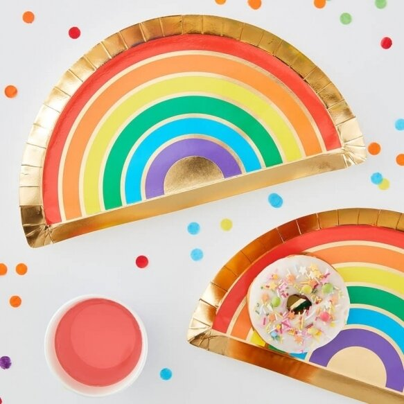 8 RAINBOW & GOLD FOILED PAPER PARTY PLATES