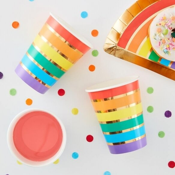 8 RAINBOW & GOLD FOILED PAPER PARTY CUPS