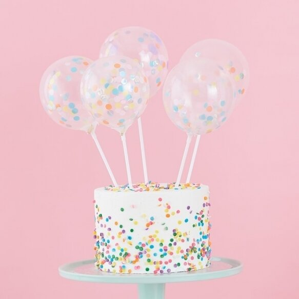 5 MINI CAKE TOPPER CONFETTI BALLOONS KIT