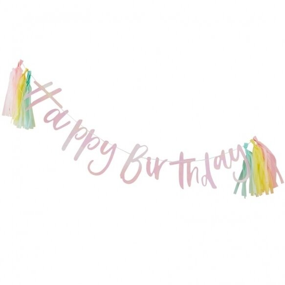 HAPPY BIRTHDAY IRIDESCENT BUNTING WITH TASSELS