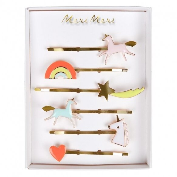 6 Unicorn Enamel Hair Slides