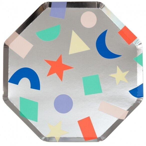 8 Silver Geometric Plates