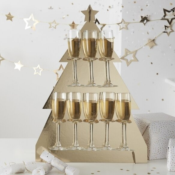 CHRISTMAS TREE SHAPED PROSECCO WALL DRINKS WALL HOLDER