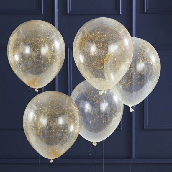 5 GOLD ANGEL HAIR CONFETTI BALLOONS
