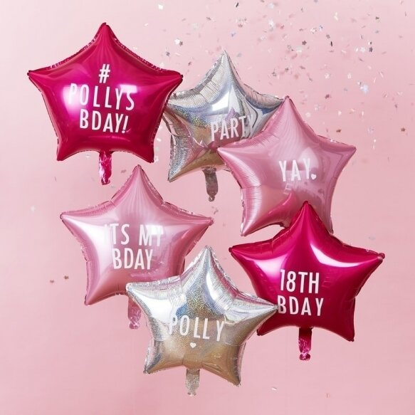 6 PERSONALISABLE STAR  BALLOONS WITH STICKERS