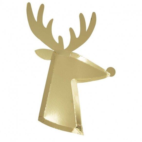 8 Gold Reindeer Plates