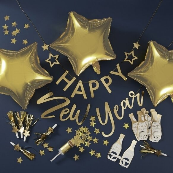 GOLD FOILED HAPPY NEW YEAR PARTY IN A BOX DECORATIONS