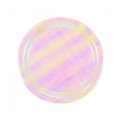 12 Pastel Iridescent Plates