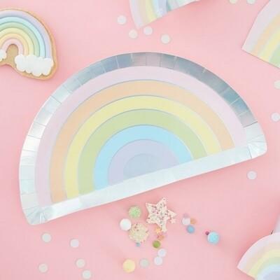 8 PASTEL & IRIDESCENT RAINBOW PAPER PLATE
