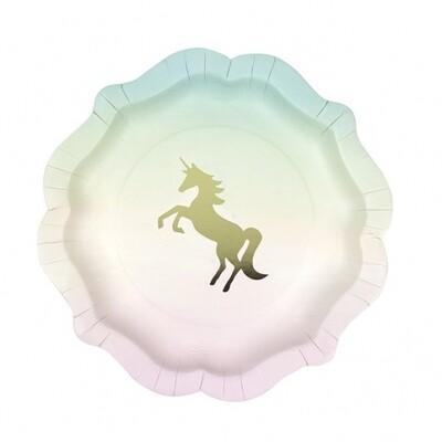 12 Unicorns Pastel Paper Plates