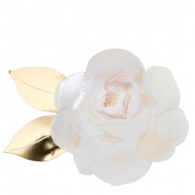 8 White Rose Plates
