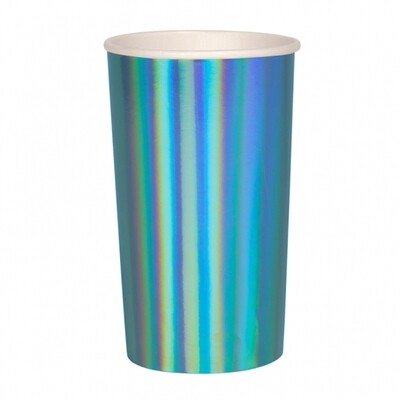 8 Holographic Blue Highball Cups
