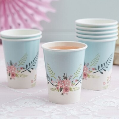 8 PAPER CUPS FLORAL FANCY