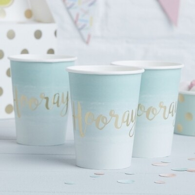 8 MINT & GOLD FOILED HOORAY PAPER CUPS