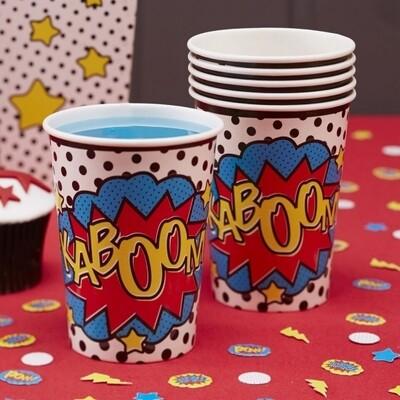 8 PAPER CUPS COMIC SUPERHERO