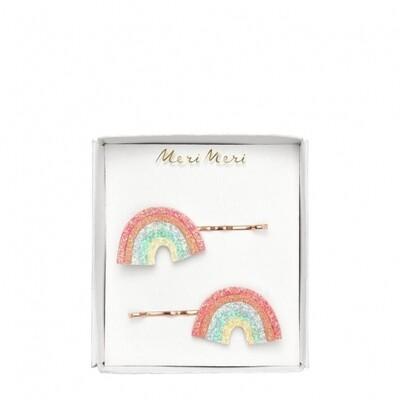 2 Glitter Rainbow Hair Slides