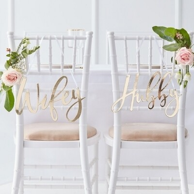 WIFEY & HUBBY GOLD CHAIR SIGNS