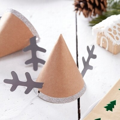 6 Mini Reindeer Party Hats