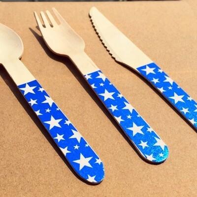 12 Foil Star Spoons